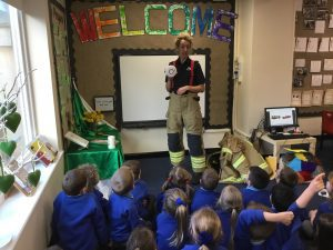 A visit from an airport firefighter.